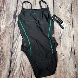 NWT speedo 8/34 black green racerback
